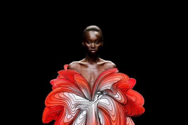 Птицы и лица появляются на головокружительных платьях Айрис ван Херпен