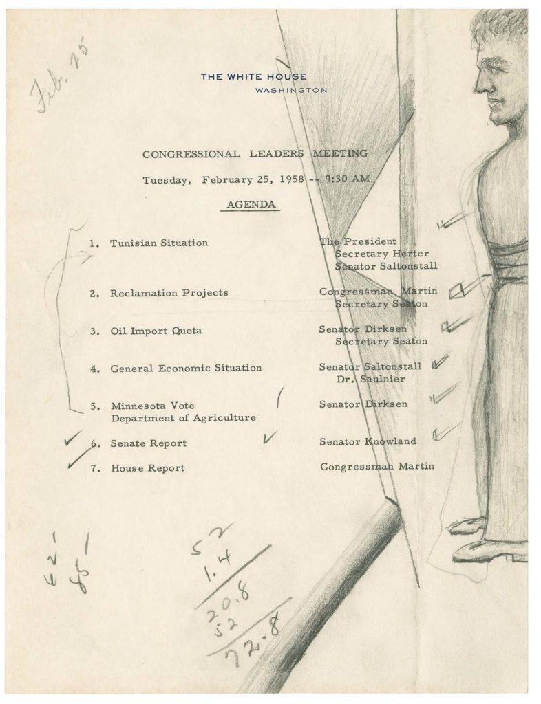 Эскиз президента Дуайта Д. Эйзенхауэра, 3 марта 1959 года..jpg