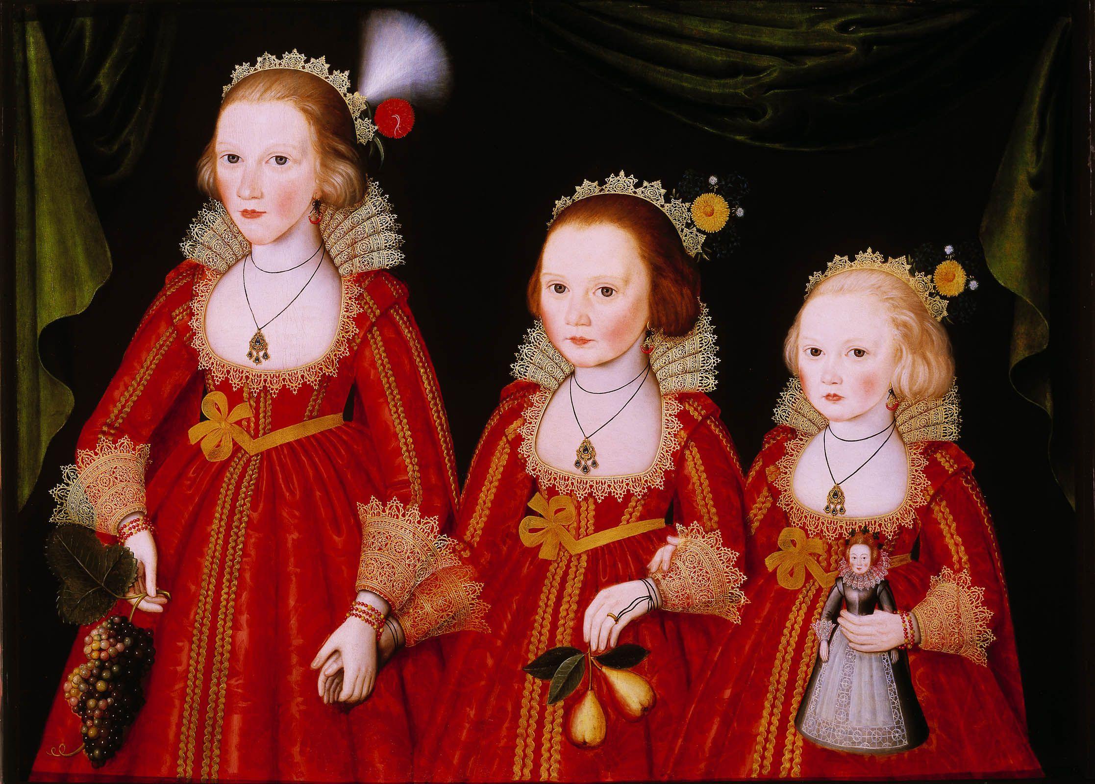 Почему на портретах молодых дам писали голую грудь, или открой соски Three_Young_Girls_by_Follower_of_William_Larkin.jpg