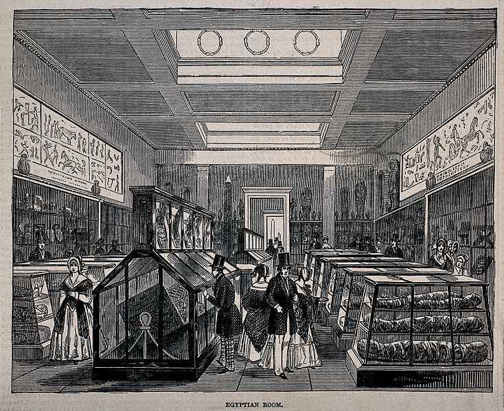 The_British_Museum;_the_Egyptian_Room,_with_visitors._Wood_e_Wellcome_V0013510.jpg
