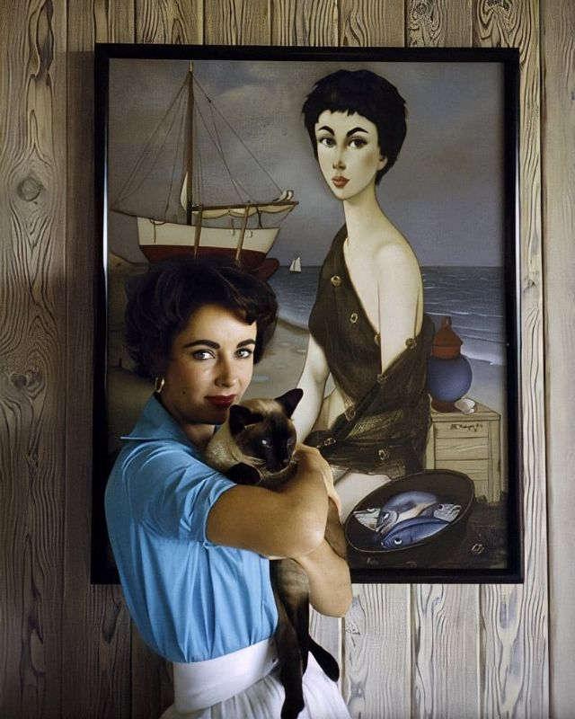 Elizabeth Taylor at her Beverly Hills home with her pet Siamese cat, 'Coffee,' 1956. Photo by Sanford Roth.jpg