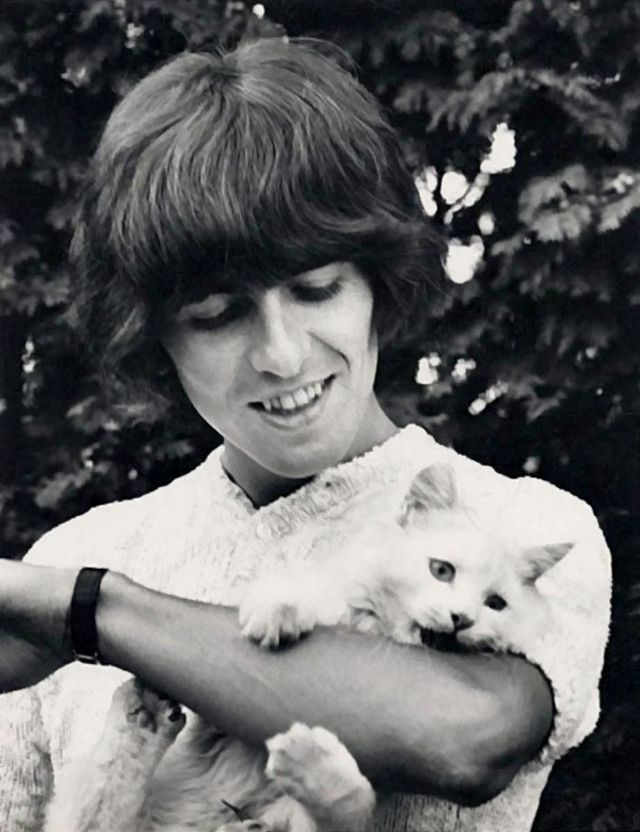George Harrison with his cat, 'Corky,' by the pool at Kinfauns, Surrey, England, 1965.jpg