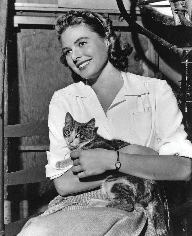 Ingrid Bergman holding her cat, 1940s.jpg