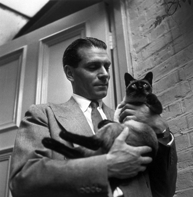 Laurence Olivier with the family cat 'New' at home at Chelsea, London, 1946. Photo by Keystone Features.jpg