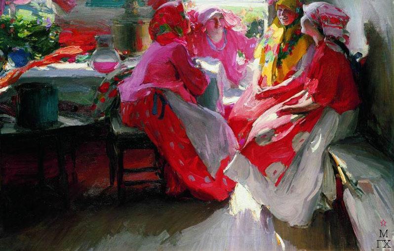 В гостях. 1915. Холст, масло. 105x154. Государственный Русский музей.