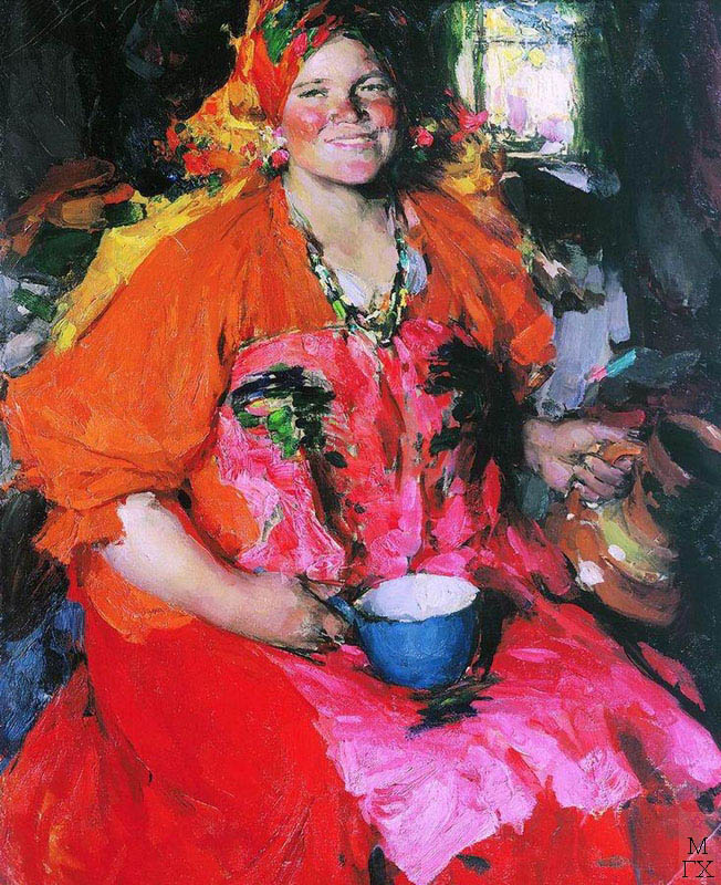 Девушка с кувшином. 1927. Х.М. 108x87. Государственная Третьяковская галерея.