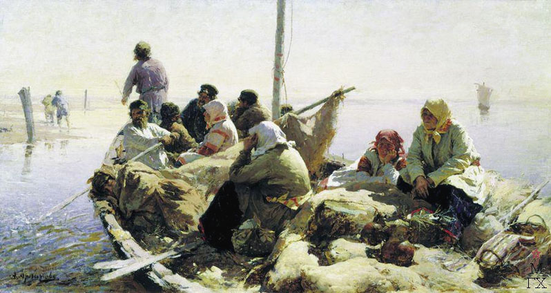 По реке Оке. 1889. Холст, масло. 40.8 x 76.5. Государственная Третьяковская галерея.