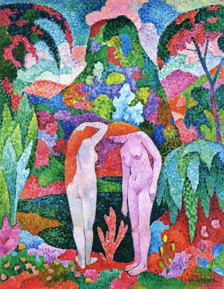 Купальщица двух обнаженных в экзотическом пейзаже - постимпрессионист , картина озданная Жаном Метцингером в 1905 году.jpg