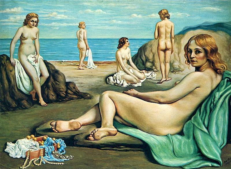 Купальщицы на пляже - картина создана Джорджо де Кирико в 1934 году.jpg