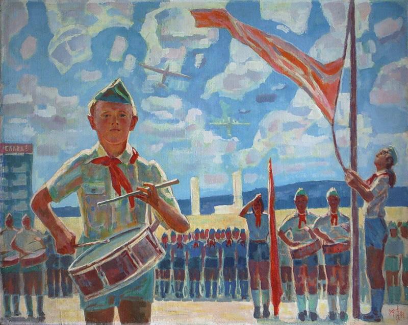 Аникеев М. К. Пионерская линейка. 1947г.