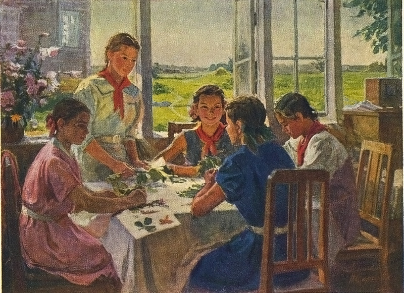 Сергеева Н. В пионерской комнате. 1953
