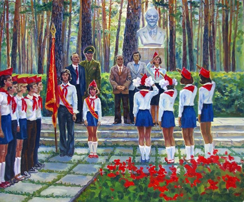 Захаров А.Н. Приём в пионеры. 1984г.