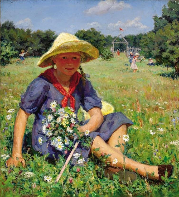 Барабанщиков Г.И. Сбор цветов. 1945