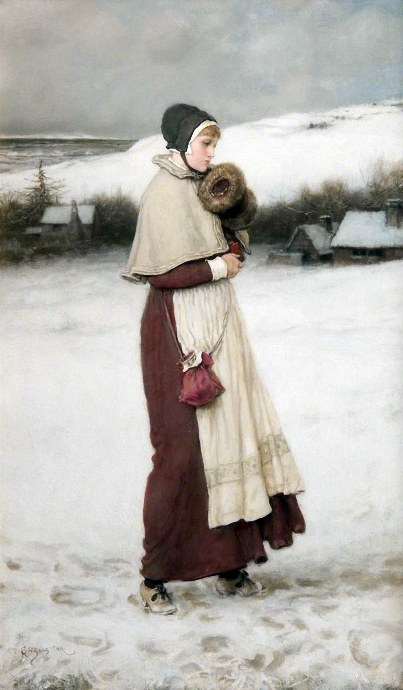 George Henry Boughton - Girl with a Muff, Winter Scene.jpg