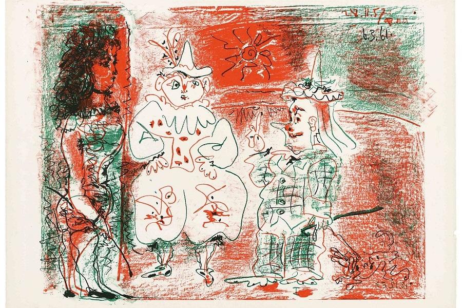 rx_Πάμπλο_Πικάσο,_Η_ιππέας_τσίρκου_και_οι_κλόουν,_6.3.1961_Λιθο.jpg