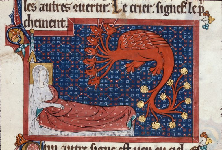 Detail-of-a-miniature-of-the-woman-in-labour-lying-in-a-bed-and-a-red-dragon-with-seven-heads-and-ten-horns-in-illustration-of-Revelation-12-2-4.--76…