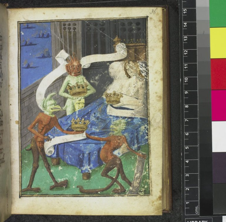 Miniature-symbolising-pride-of-a-man-in-bed-holding-a-crown-surrounded-by-demons-who-also-clutch-crowns.-Origin-France-S.-Périgord--768x752.jpg