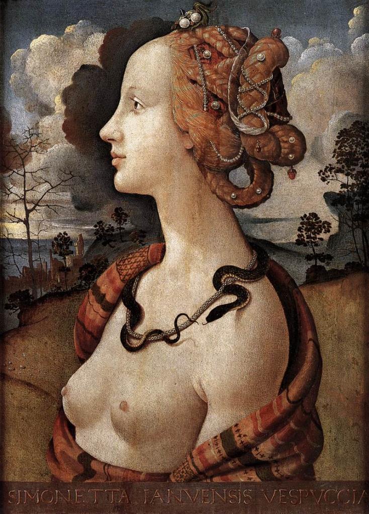 Портрет Симонетты Веспуччи. 1480 г.Пьеро ди Козимо. Масло. Музей Конде, Шантийи.