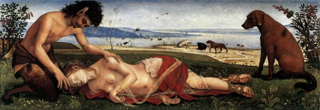 Смерть Прокриды. ок.1500 г.  Масло. Национальная галерея, Лондон.