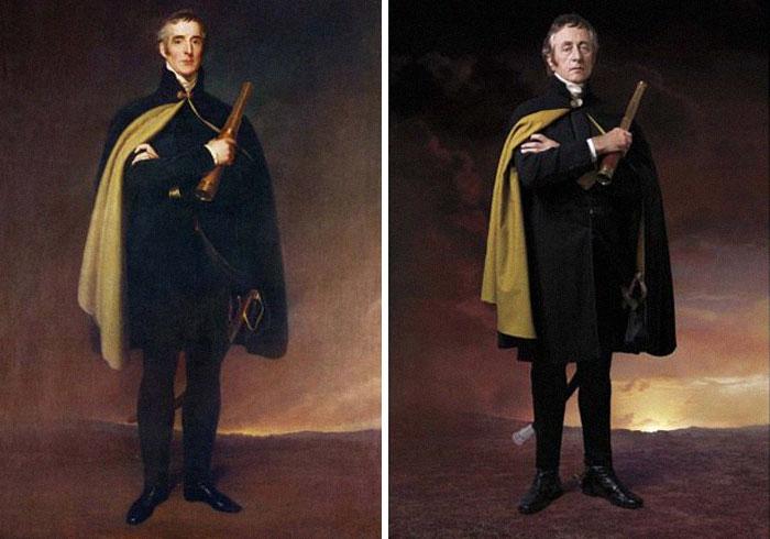 Артур Уэлсли, 1-й герцог Веллингстон (слева), 1824 г. и Джереми Клайд (справа) пра-пра-пра-внук 1-го герцога Веллингтона.jpg