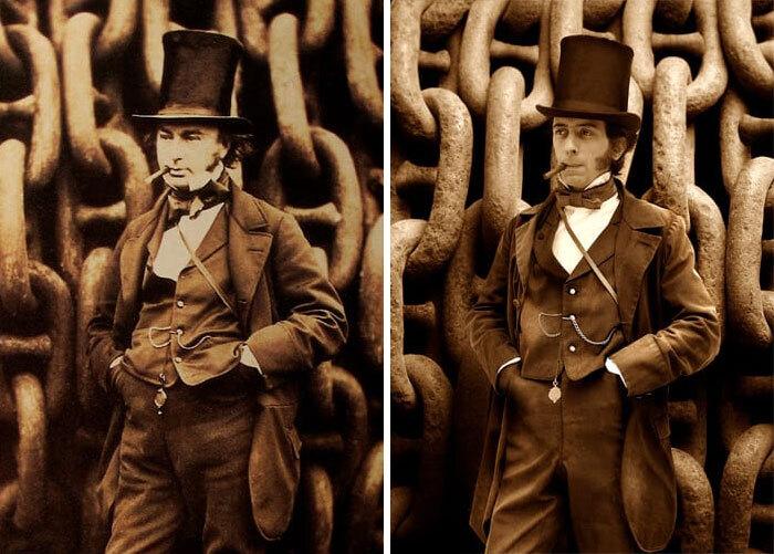 Брунель, 1857 (слева) и Исамбард Томас (справа), пра-пра-пра-внук Брунеля.jpg