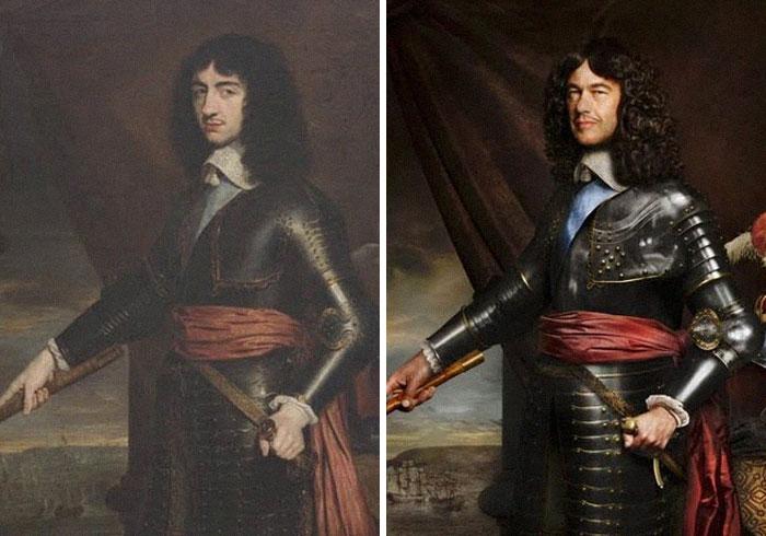 Карл II (слева), 1653 г. и лорд Чарльз Фицрой (справа) в 9-м поколении правнук Карла II.jpg