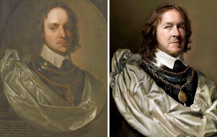 Оливер Кромвель (слева), 1653-1654 гг. И Чарльз Буш (справа) пра-пра-пра-пра-пра-пра-внук Оливера Кромвеля.jpg
