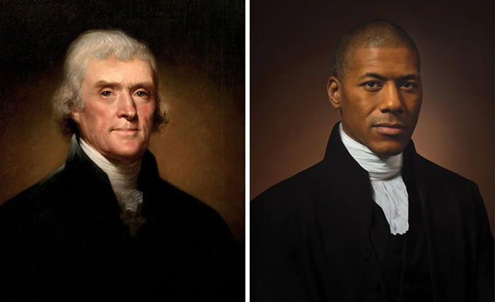 Томас Джефферсон (слева), 1800 г. и Шеннон Ланье (справа) Шестой правнук Томаса Джефферсона.jpg