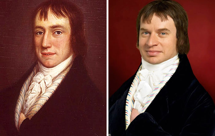 Уильям Вордсворт (слева), 1798 год, Андтом Вонтнер (справа), пра-пра-пра-внук Вордсворта.jpg