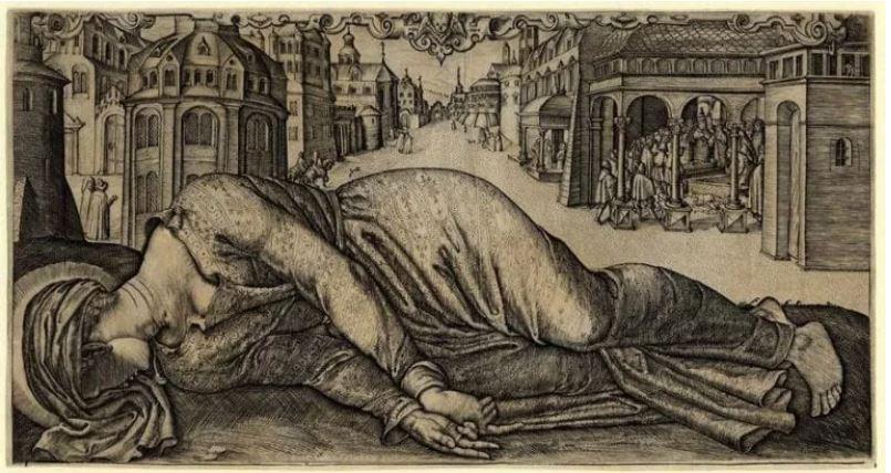 Гравюра Мученичества святой Сесилии неизвестного художника , 1601 г., Британский музей, Лондон.JPG
