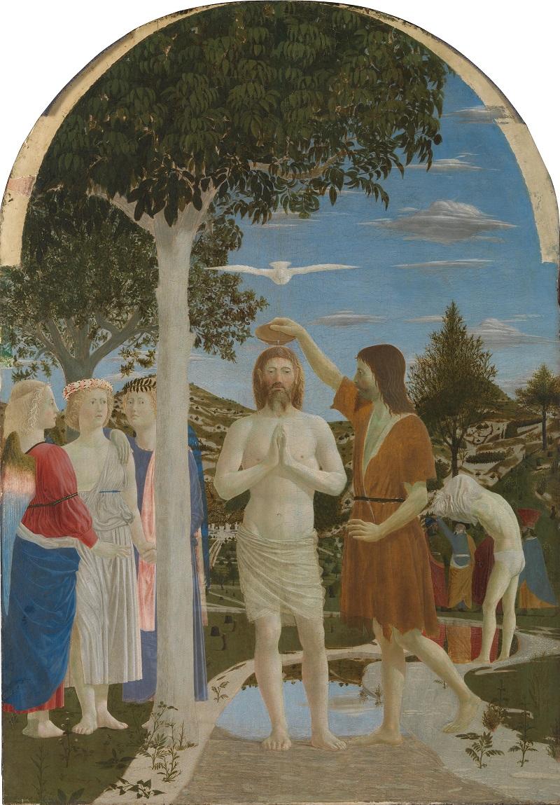 Давняя тема - купальщики в искусстве Piero_della_Francesca_-_Battesimo_di_Cristo_(National_Gallery,_London) (1).jpg
