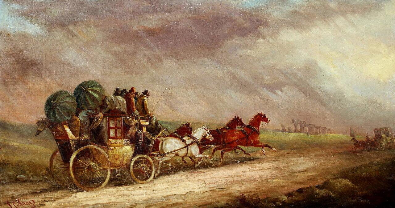 John Charles Maggs (British, 1819-1895) The Salisbury - London mail coach passing Stonehenge..jpg