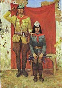 Соцреализм и антикоммунизм в Албании Vilson Halimi , Shoke lufte shoke jete, 139 x 202.5 cm, 1974.jpg