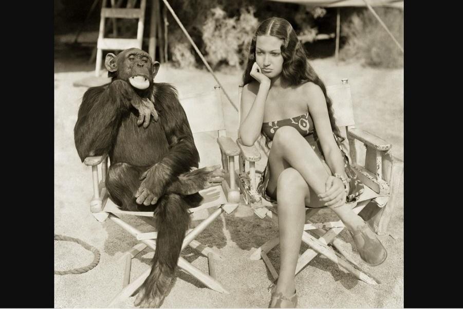 Актриса Дороти Ламур с шимпанзе Джиггзом (5).JPG