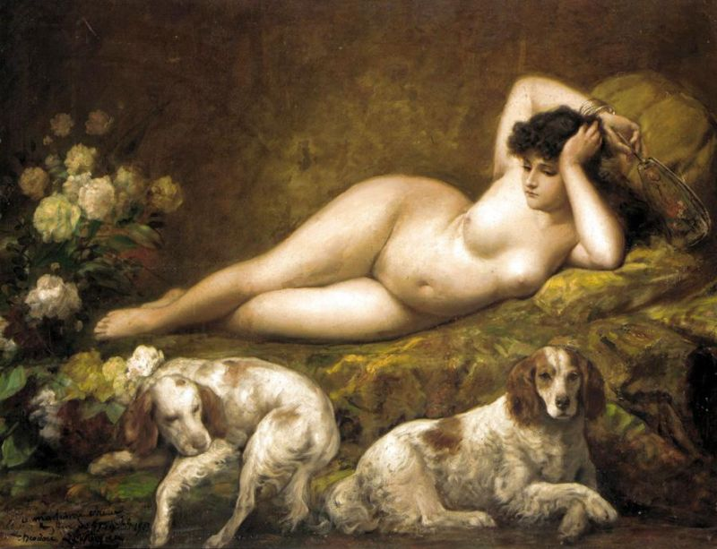 Лежащая обнаженная с двумя собаками, Теодор Левин.jpg