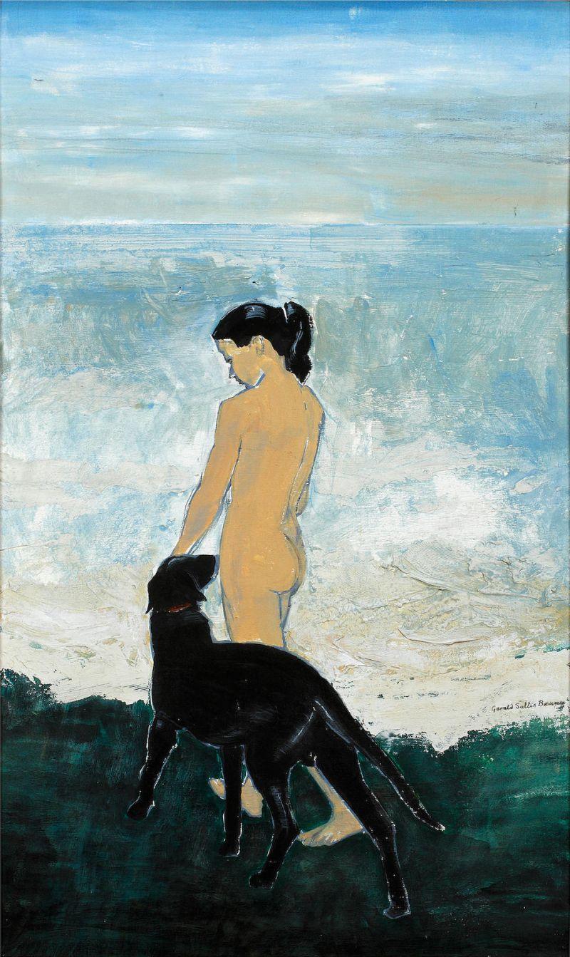 Обнаженная с собакой на пляже.jpg