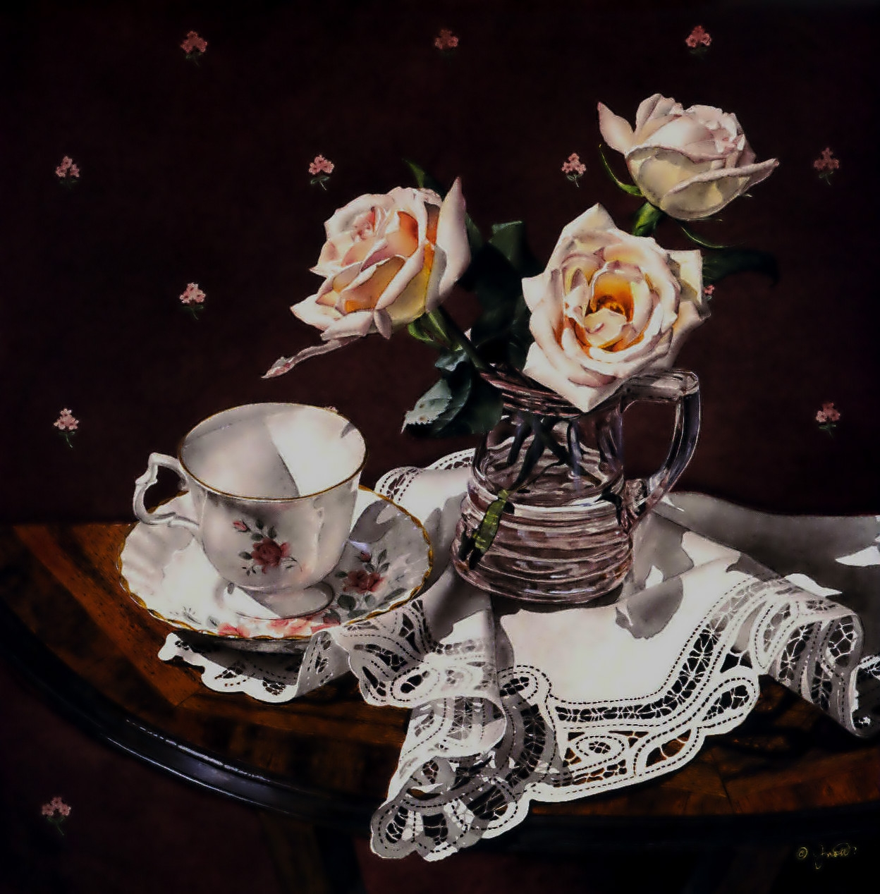 Still Life with Pink Roses and Tea Cup