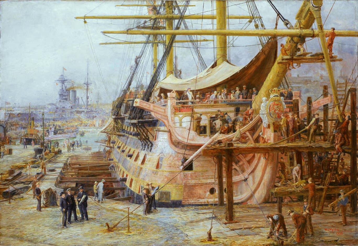 Restoring_HMS_Victory,_by_William_Lionel_Wyllie.jpg