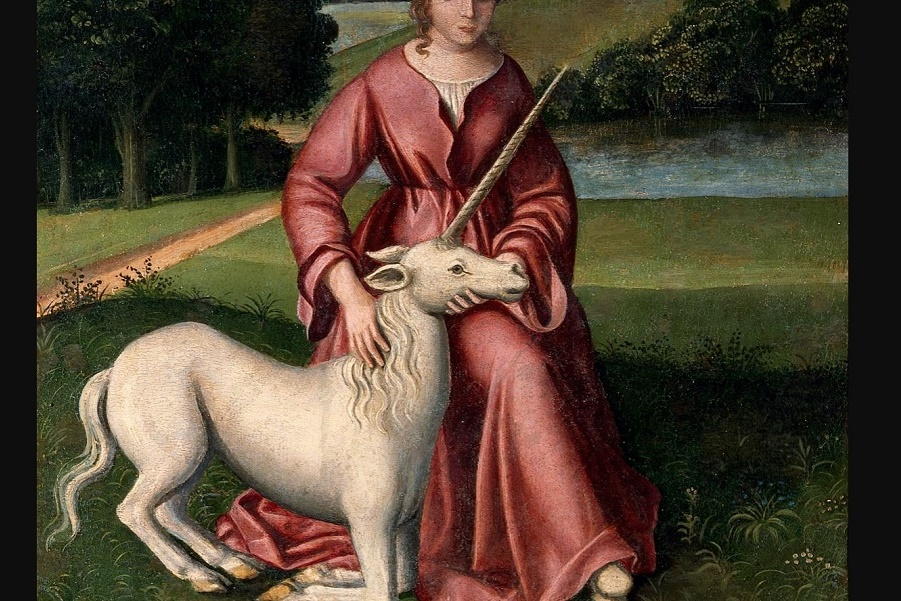 Chastity_(a_virgin_and_a_unicorn)._Oil_painting_by_a_followe_Wellcome_V0017113.jpg