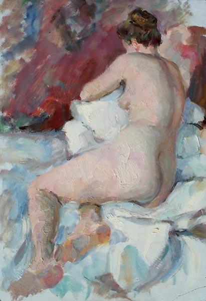 В. Черноусенко. Сидящая обнаженная. 1954