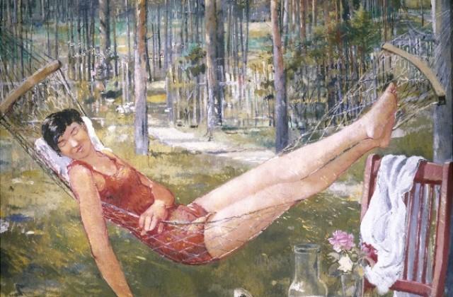 Ю. И. Пименов. Женщина в гамаке (1934 г., холст, масло)