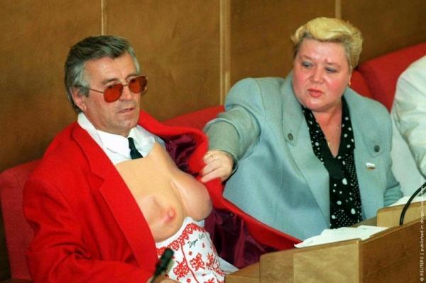 Депутаты-Марычев-и-Булгакова-на-заседании-Государственной-Думы-РФ-май-1995-г