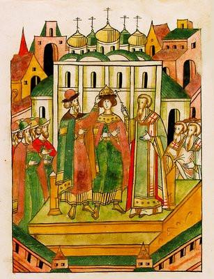 Поставление Димитрия Иоанновича на великое княжение. Миниатюра из Лицевого летописного свода.