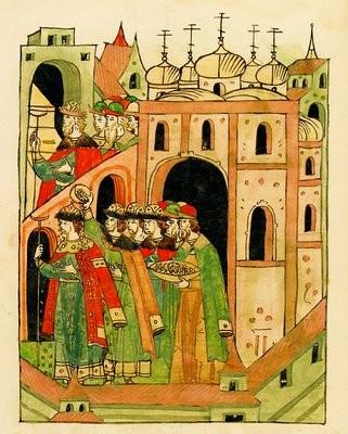 Вел. кн. Димитрия Иоанновича осыпают монетами после поставления на великое княжение
