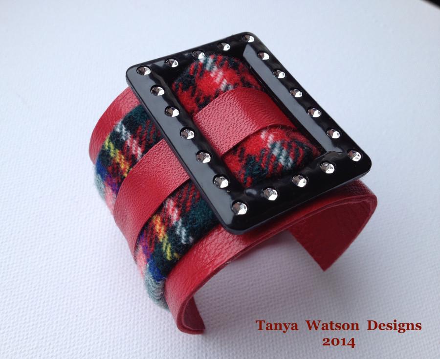 black  buckle  red  tartan  bracelet