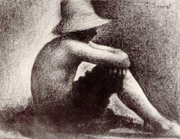Georges-Pierre Seurat. Сидящий мальчик в соломенной шляпе