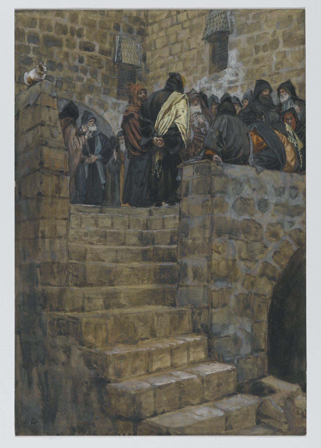 187. Совет Каиафы, 1886-94, 26.4 x 18.1 cm, Бумага, акварель по графиту