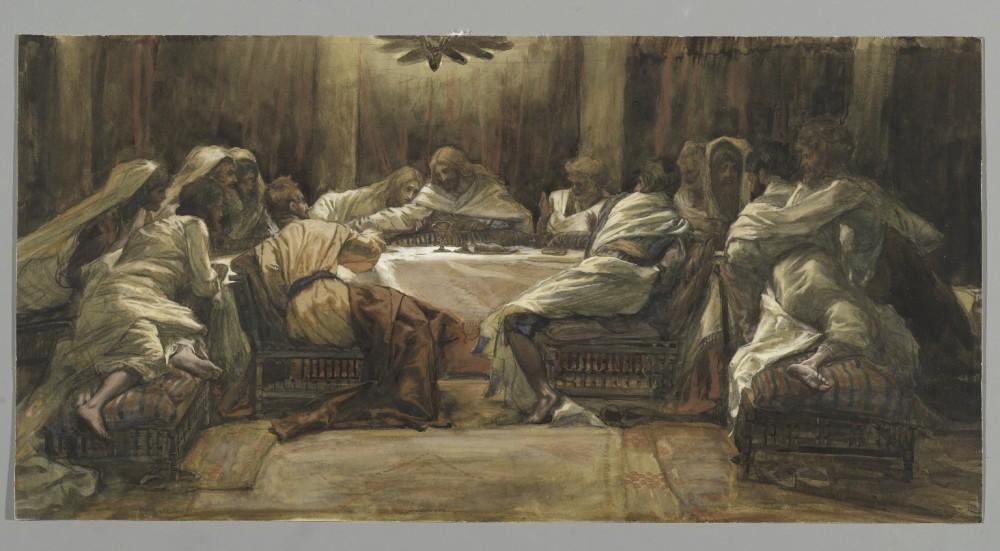 221. Тайная вечеря. Иуда опускает свою руку в чашу, 1886-94, 24.8 x 49.2 cm, Бумага, акварель по графиту