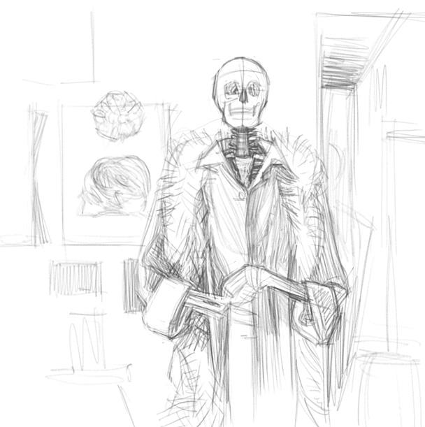 124 - парадный портрет скелета чб