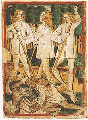 Darstellung von Siegfrieds Ermordung aus der Handschrift k des Nibelungenlieds (1480–90)